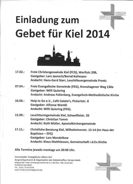 Termine Gebet für Kiel 2014