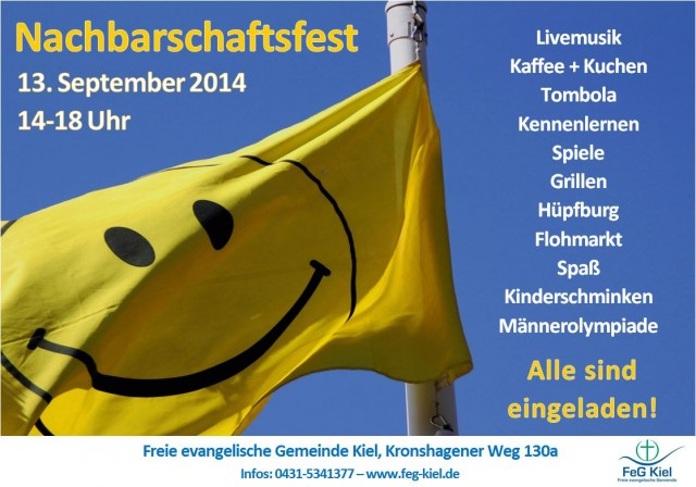 Nachbarschaftsfest, 2. Auflage! 13. September 2014