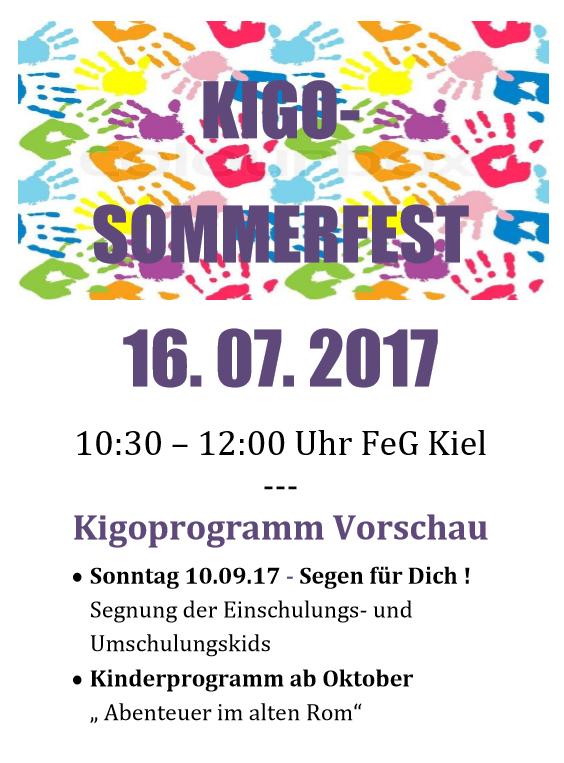 Kigo-Sommerfest am 16. Juli